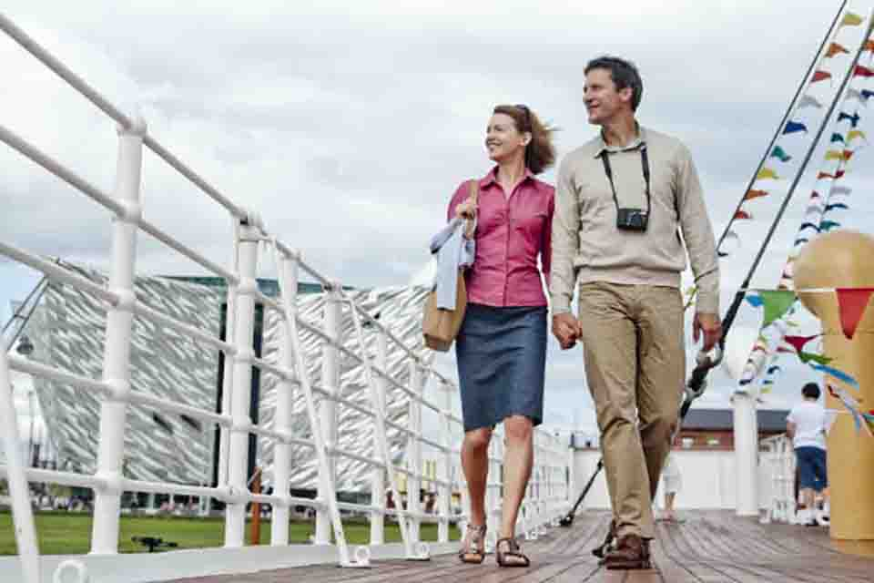 Couple on top of Belfast Titanic