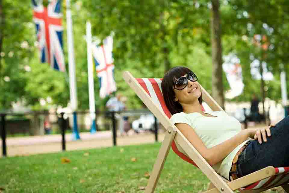 Girl relaxing in London park